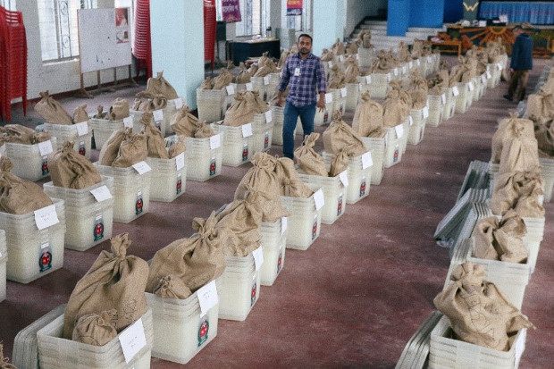 Voting materials including ballot boxes are seen inside a distribution center in Dhaka ahead of Bangladesh's 11th general election, Dec. 29, 2018. [Reuters]