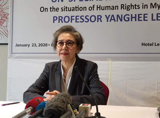 Yanghee Lee, the U.N.'s special rapporteur on human rights in Myanmar, appears at a news conference in Dhaka, as she prepares to end her six-year assignment for the United Nations in March, Jan. 23, 2020. [Megh Monir/BenarNews]