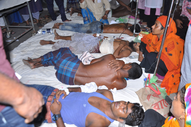 Demonstrators receive medical treatment in a hospital in the south-central Bangladesh city of Barisal after police said they opened fire in self-defense on demonstrators who were throwing rocks at officers, Oct. 20, 2019.
