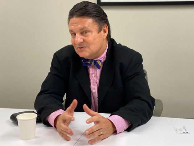 Richard Ragan, the resident representative for World Food Program Bangladesh, gestures during an interview with BenarNews in Washington, March 4, 2020. [Ashif Entaz Rabi/BenarNews]