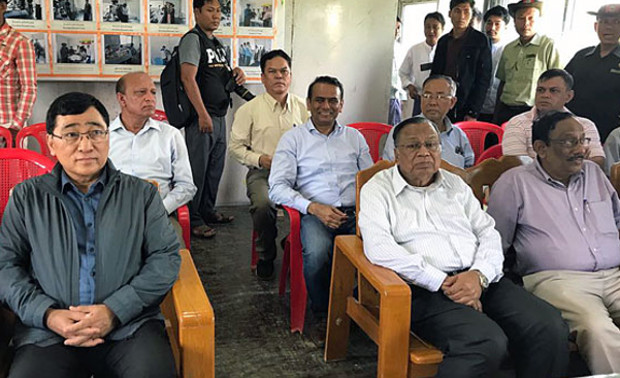 Bangladesh's Foreign Minister Abdul Hassan Mahmood Ali (front row, 2nd from R) sits in an office during a visit to western Myanmar's Rakhine state, Aug. 11, 2018. [Bangladesh's Ministry of Foreign Affairs]