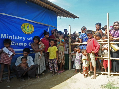 Rohingya wait for medical care at a clinic in the Bawdupha Internally Displaced Persons (IDP) camp on the outskirts of Sittwe, the capital of Myanmar's western Rakhine state, Nov. 2, 2012.