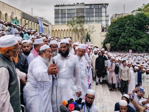 Hefazat-e-Islam leader Junayed Babunagari addresses the crowd during an anti-France protest in Dhaka on Nov. 2, 2020.