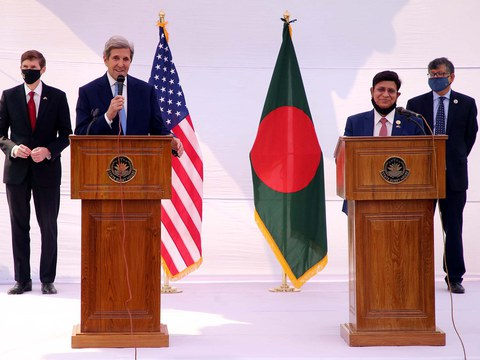 United States presidential climate envoy John Kerry (left) speaks during a press conference with Bangladesh Foreign Minister A.K. Abdul Momen in Dhaka, April 9, 2021.