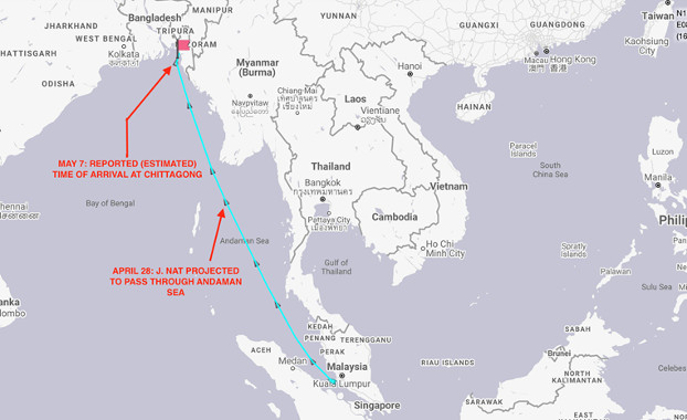 This map shows the projected route of the J. Nat after its position was last tracked by shipping software as it passed through the Strait of Malacca on April 22. The ship has since turned off its transponder. [MarineTraffic]