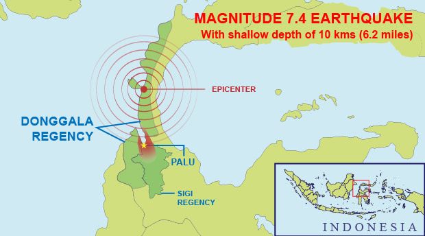 Graphic shows the epicenter and impact zone of the earthquake that struck Central Sulawesi on Sept. 28, 2018. [Vincent Meadows/BenarNews]