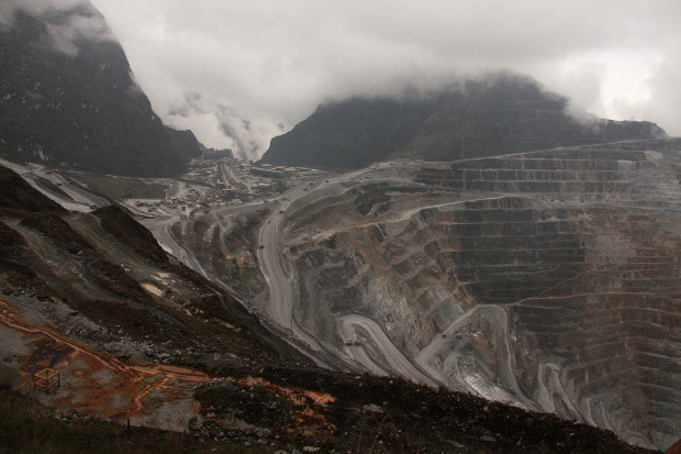 Freeport McMoRan's gigantic Grasberg mine lies in the mountains of eastern Indonesia's remote province of Papua, Aug.16, 2013. [AFP]