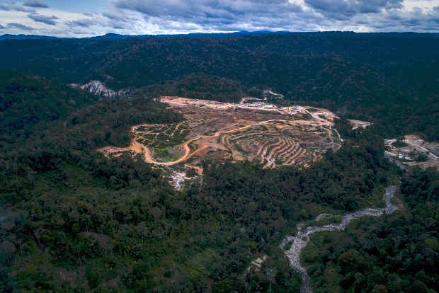 This handout picture shows an aerial view of land cleared as a staging area for the building of a hydroelectric dam in the Batang Toru rainforest on Sumatra island, Aug. 20, 2018. [AFP]