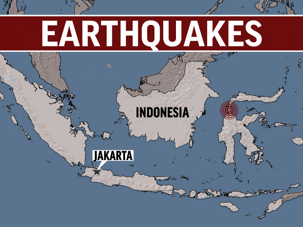 Graphic shows the location of two earthquakes that struck Central Sulawesi in Indonesia on Friday, Sept. 28, triggering a tsunami. [AP]