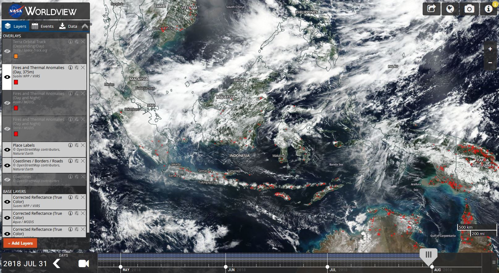 Satellite imagery provided by NASA shows fires and hotspots in Indonesia and neighboring countries. (Courtesy NASA Worldview)