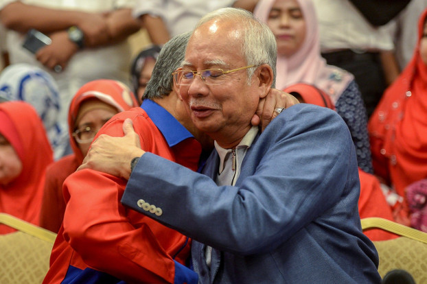 Former Malaysian Prime Minister Najib Razak announces his resignation as president of the United Malays National Organization in Kuala Lumpur, May 12, 2018. (S.Mahfuz/BenarNews)