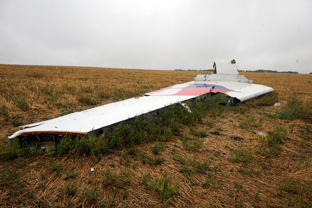 A fragment from Malaysian Airlines flight 17 is seen at a crash site in Hrabove (Grabovo), Ukraine, Sept. 9, 2014. [AFP]