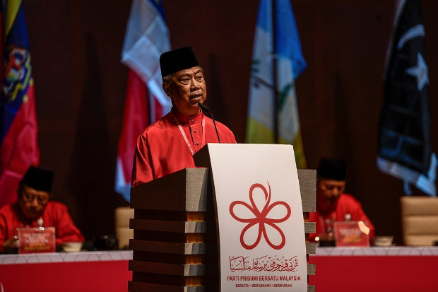 Malaysian Home Minister Muhyiddin Yassin delivers his speech as president of Bersatu at the party's general assembly in Putrajaya, the administrative capital, Dec. 30, 2018. [S.Mahfuz/BenarNews]