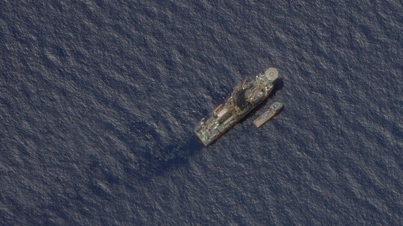 This satellite image shows the Malaysian-contracted drillship West Capella accompanied by the Executive Stride, a supply vessel, in the South China Sea, April 22, 2020. [Planet Labs Inc.]