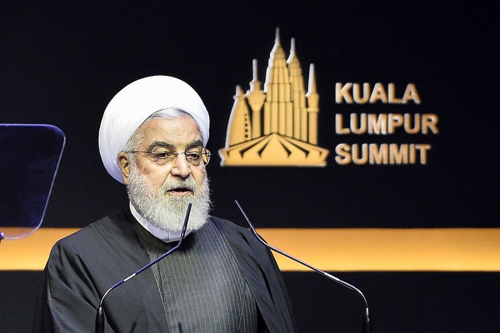 Iranian President Hassan Rouhani addresses the Kuala Lumpur Summit, Dec. 19, 2019. [S. Mahfuz/BenarNews]