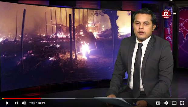 In this screen grab from a YouTube video, Ajmeer Omar presents the news during Wednesday's Rohingya Vision TV broadcast, Jan. 31, 2018. [BenarNews]