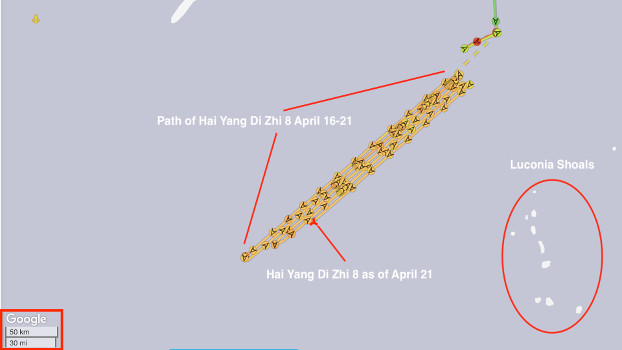 A graphic representation of the path of the Chinese survey ship Hai Yang Di Zhi 8 since it arrived off the coast of Malaysia on April 16. (MarineTraffic with annotation by BenarNews)