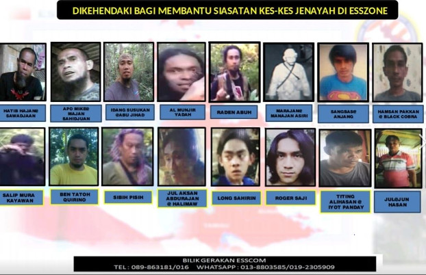 The Eastern Sabah Security Command posted photos of the 18 men on the 2019 list of most wanted criminals, Jan.7, 2019. (Courtesy of Esscomm)