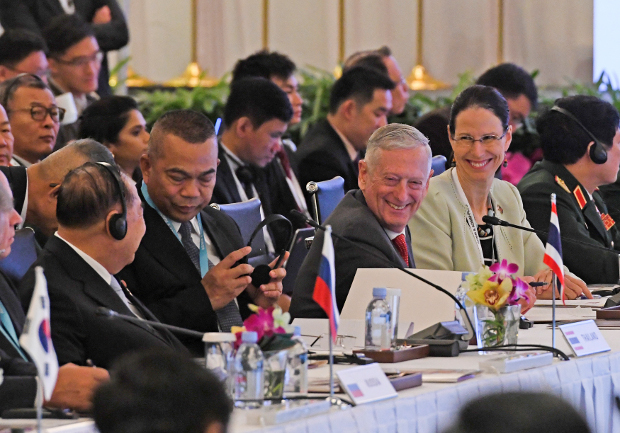 U.S. Defense Secretary James Mattis (center) attends the 5th ASEAN Defense Ministers Meeting-Plus during the Association of Southeast Asian Nations (ASEAN) security summit in Singapore, Oct. 20, 2018.