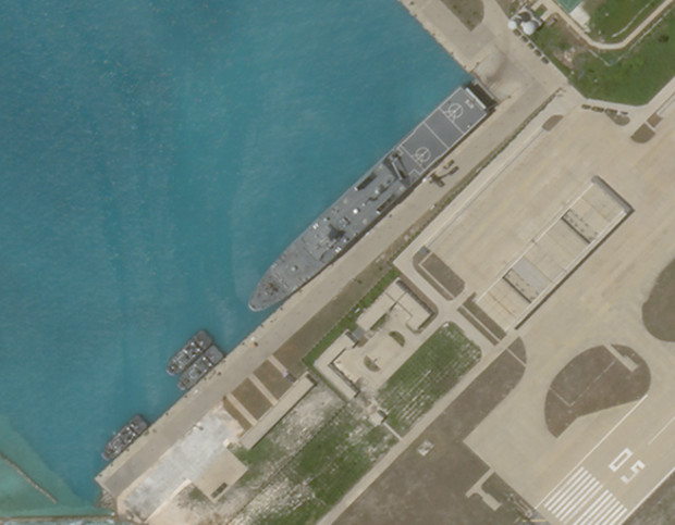 Satellite imagery shows what appears to be an amphibious assault transport ship of the Chinese Navy docked at Woody Island in the South China Sea, June 27, 2020. [PlanetLabs Inc.]