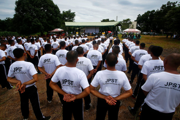 Former Moro Islamic Liberation Front combatants undergo basic training at Camp Lucero in Carmen, southern Philippines, Aug. 1, 2019. [Mark Navales/BenarNews]