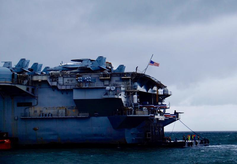 The aircraft carrier USS Ronald Reagan makes a brief stopover in Manila during a freedom of navigation trip through the South China Sea region, April 7, 2019. [Jason Gutierrez/BenarNews]