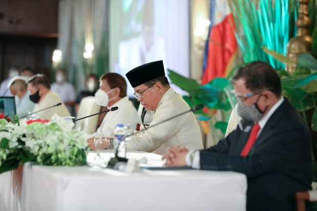 Murad Ebrahim (center), the chief minister of the Bangsamoro Autonomous Region in Muslim Mindanao (BARMM), delivers a message during an event at Malacañang Palace in Manila to mark the second anniversary of the region's establishment, Jan. 21, 2021.