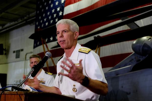 U.S. Rear Admiral Karl Thomas speaks to reporters aboard the USS Ronald Reagan, Aug 7, 2019. [Jason Gutierrez/BenarNews]