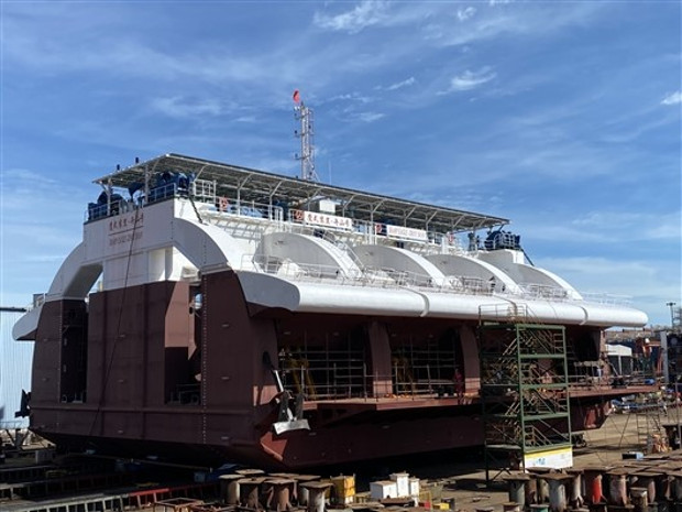 """A 500kW wave energy generator, called """"Zhoushan,"""" after construction at a shipyard on June 30, 2020. It is owned by the Guangzhou Institute of Energy Conversion which focuses on using wave power to generate electricity. (Sciencenet.cn)"""