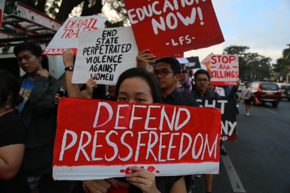 Students in northern Baguio City, Philippines, participate in a nationwide protest for press freedom, Feb. 23, 2018.  (Photo: Jojo Rinoza/BenarNews)