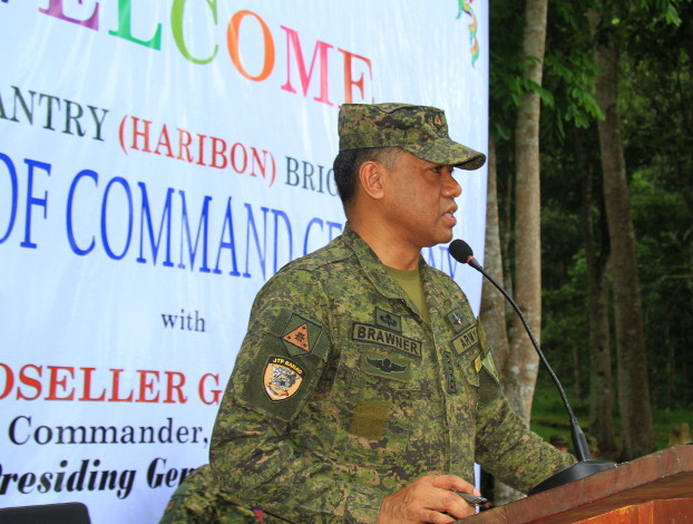 Col. Romeo Brawner Jr. speaks to troops in Marawi after assuming command of the 103rd Infantry (Haribon) Brigade, Dec. 18, 2018. (Richel V. Umel/BenarNews)