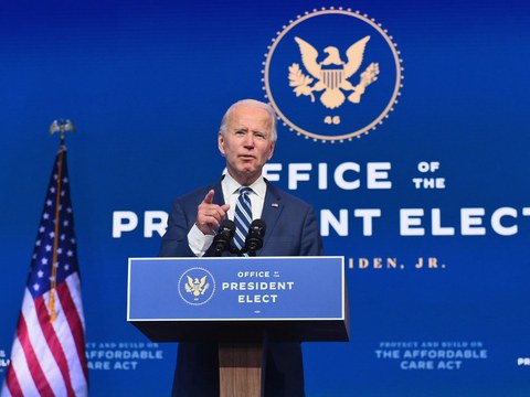 U.S. President-elect Joe Biden delivers remarks in Wilmington, Delaware, Nov. 10, 2020.