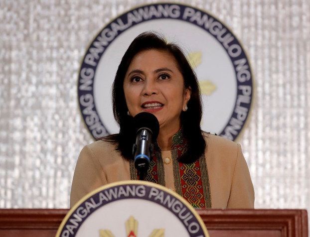 Philippine Vice President Leni Robredo delivers a speech in suburban Quezon City, northeast of Manila, Philippines, Nov. 6, 2019. [AP]