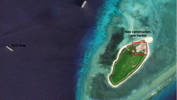Drummond Island has had a swathe of land cleared and paved next to its port, Oct. 3, 2020. [Planet Labs Inc.]