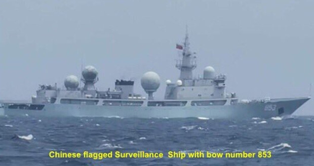The Philippines military's Western Mindanao Command released this photo of a Chinese-flagged warship with bow number 853, which was monitored in Philippine waters on Aug. 4, 2019. [Handout/Western Mindanao Command]
