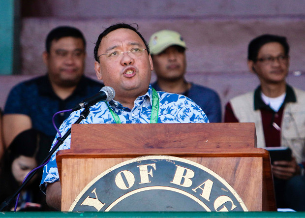 Philippine presidential spokesman Harry Roque speaks during the opening of the Flower Festival in Baguio City, north of Manila, Feb. 1, 2018. [Karl Romano/BenarNews]