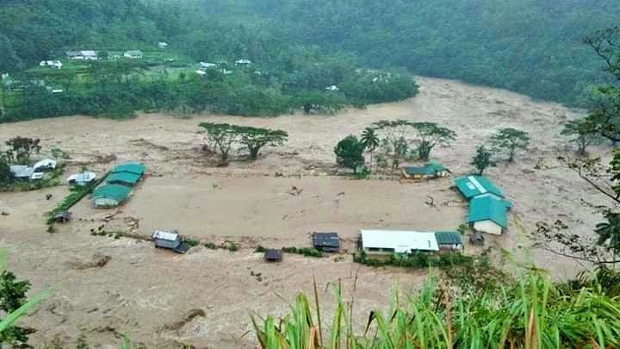 Flashfloods spawned by Typhoon Yutu all but wash out an elementary school in Dacalan, a town in the mountains of Kalinga province in the northern Philippines, Oct. 30, 2018. [Courtesy of Cordillera Disaster Response and Development Services]