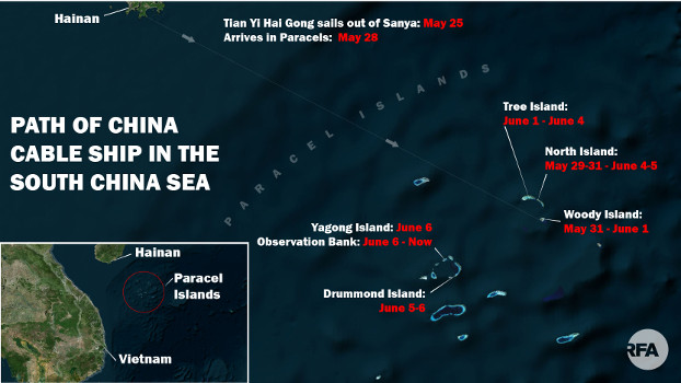 The path of the Tian Yi Hai Gong, a Chinese ship that appears to be laying undersea cables between Chinese-occupied features in the Paracel Islands. [BenarNews Graphic]