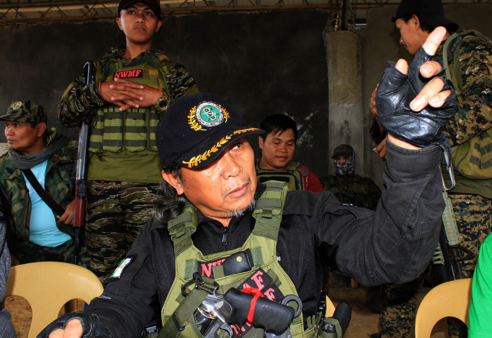 """Moro Islamic Liberation Front (MILF) commander Abdullah Macapaar, known by the nom de guerre """"Commander Bravo,"""" is pictured at the group's Camp Bilal in Lanao del Norte province, southern Philippines, Feb. 6, 2019. [Richel V. Umel/BenarNews]"""