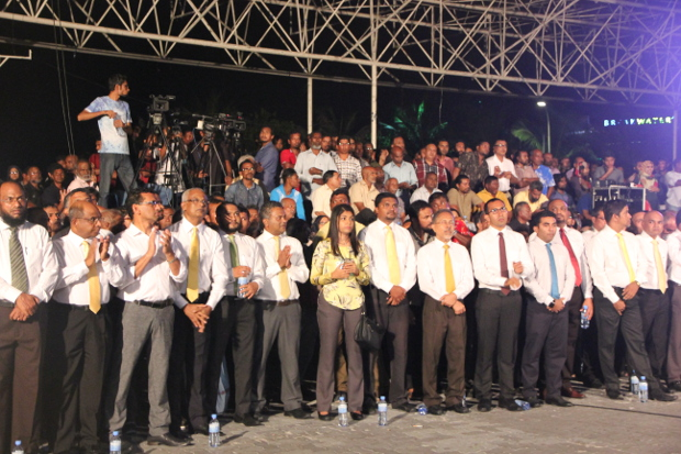 Members of the Maldives United Opposition coalition stage a peaceful protest against the government's hard-handed rule, in Male, July 21, 2016.