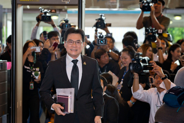 Democrat Party leader Jurin Laksanawisit arrives at the parliament in Bangkok for the prime minister vote, June 5, 2019. (AP)