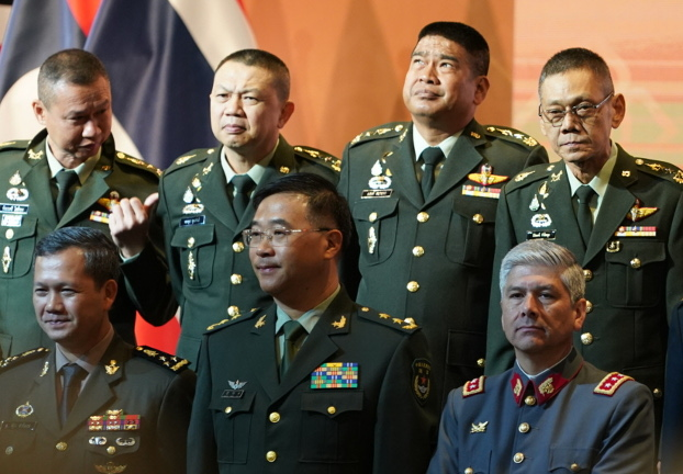 Lt. Gen. Zhang Mingcai, deputy commander of China's People's Liberation Army (front row, center), participates in a group photo during the opening of the Indo-Pacific Army Chiefs Conference. [Pimuk Rakkanam/BenarNews]