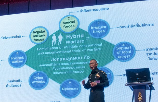"Then-Thai Army Chief Gen. Apirat Kongsompong gives a lecture at the military branch's headquarters in Bangkok, where he discussed how ""hybrid warfare"" incorporating such methods as spreading propaganda through social media was being used to destroy the nation, Oct. 11, 2019."