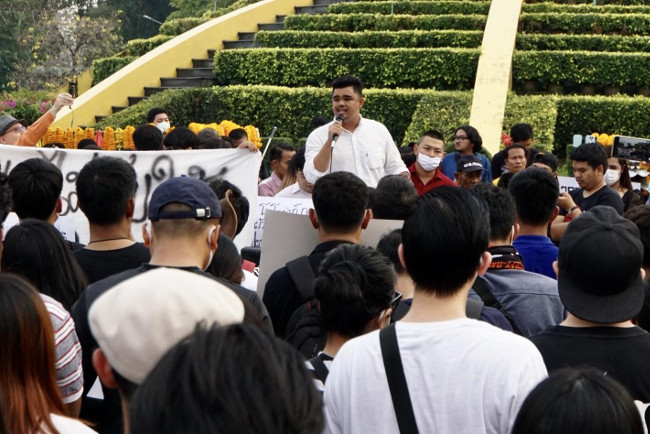 Zukriffee Lateh, president of the Federation of Pattani Students and Youths, speaks during the rally at Ramkhamhaeng University in Bangkok, Feb. 27, 2020. (Nontarat Phaicharoen/BenarNews)