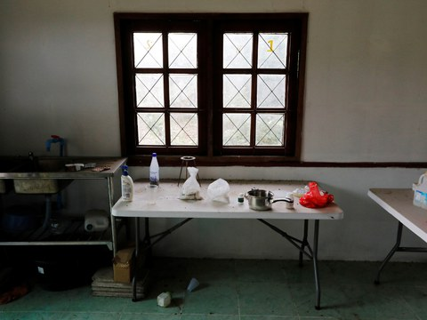 A small meth lab is seen inside a raided compound belonging to a suspected Sam Gor syndicate operations chief, in Mae Sot, Thailand May 13, 2019.