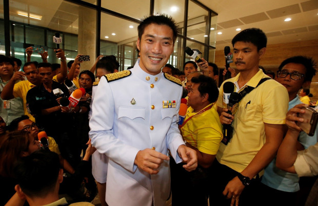Thanathorn Juangroongruangkit, leader of the pro-democratic Future Forward Party, arrives at parliament in Bangkok for the official opening of Thailand's newly elected legislature, May 24, 2019. [AP]