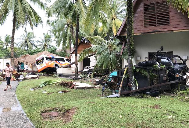 Suasana resor Pantai Tanjung Lesung di Kabupaten Pandeglang, Provinsi Banten, setelah diterjang tsunami, 23 Desember 2018. (Keisyah Aprilia/BeritaBenar)