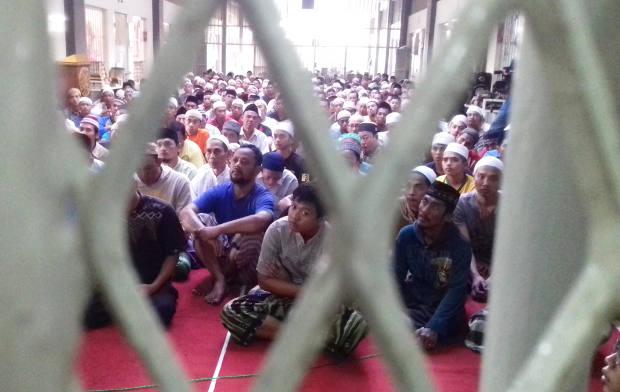 Narapidana yang menjadi santri Pesantren At-Taubah di Lembaga Pemasyarakatan Lowokwaru Kota Malang, Jawa Timur, 6 Juni 2018. (Eko Widianto/BeritaBenar)