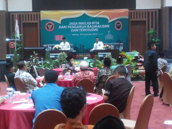 150 takmir masjid di Jawa Tengah dan Jawa Timur menjadi peserta dalam forum diskusi pengaruh radikalisme dan terorisme yang digelar Badan Nasional Penanggulangan Terorisme (BNPT) di Malang, Jawa Timur, 30 November, 2017. (Eko Widianto/BeritaBenar).