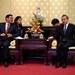 Menteri Koordinator Bidang Kemaritiman dan Investasi Indonesia Luhut Binsar Pandjaitan bertemu dengan Menteri Luar Negeri Cina Wang Yi (kanan) dalam lawatannya di Beijing, Cina, 24 Oktober 2018.